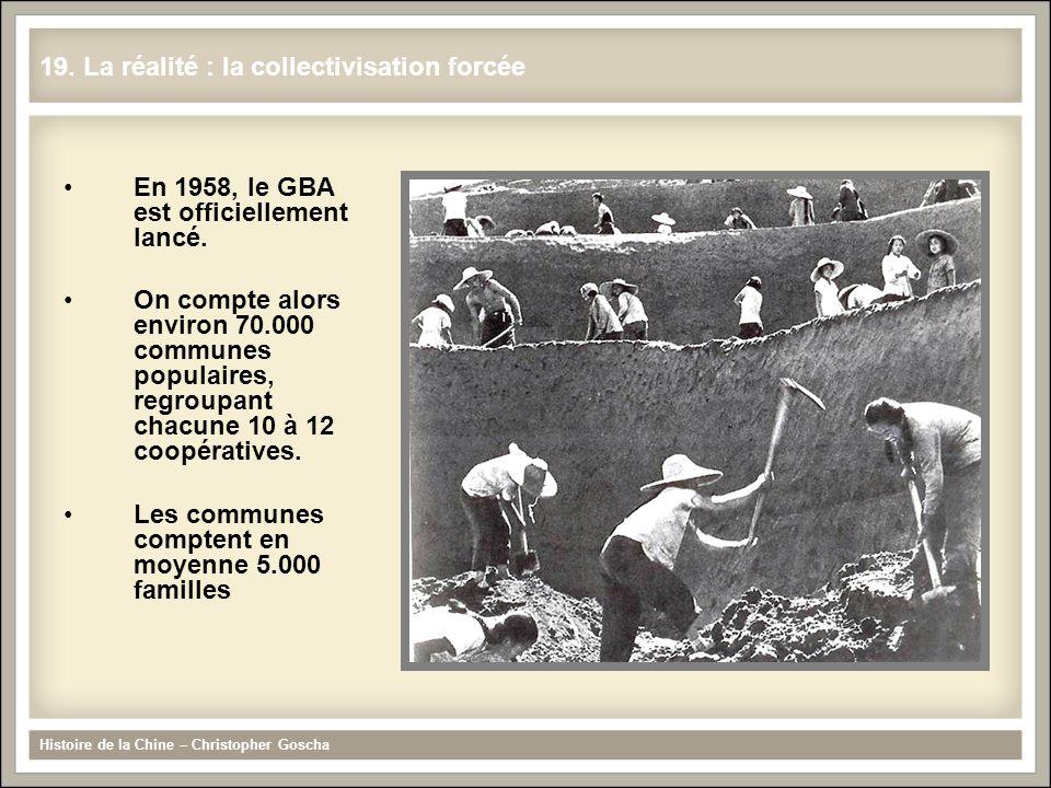 En 1958, le GBA est officiellement lancé. On compte alors environ 70.000 communes populaires, regroupant chacune 10 à 12 coopératives. Les communes co