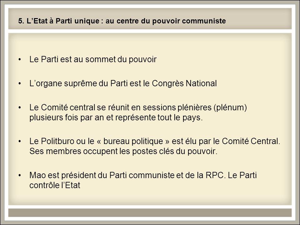 5. L'Etat à Parti unique : au centre du pouvoir communiste Le Parti est au sommet du pouvoir L'organe suprême du Parti est le Congrès National Le Comi