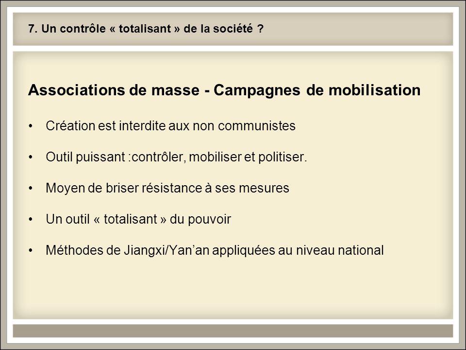 7. Un contrôle « totalisant » de la société ? Associations de masse - Campagnes de mobilisation Création est interdite aux non communistes Outil puiss