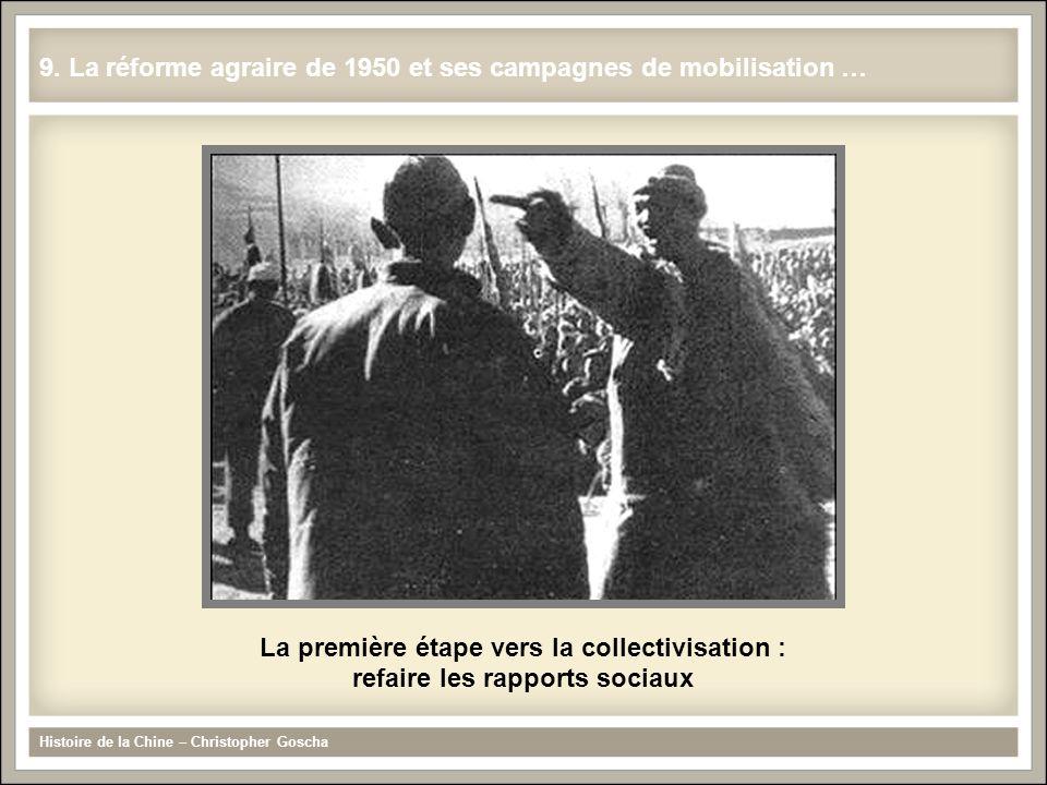 La première étape vers la collectivisation : refaire les rapports sociaux Histoire de la Chine – Christopher Goscha 9. La réforme agraire de 1950 et s