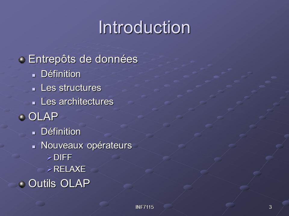 3INF7115 Introduction Entrepôts de données Définition Définition Les structures Les structures Les architectures Les architecturesOLAP Définition Défi