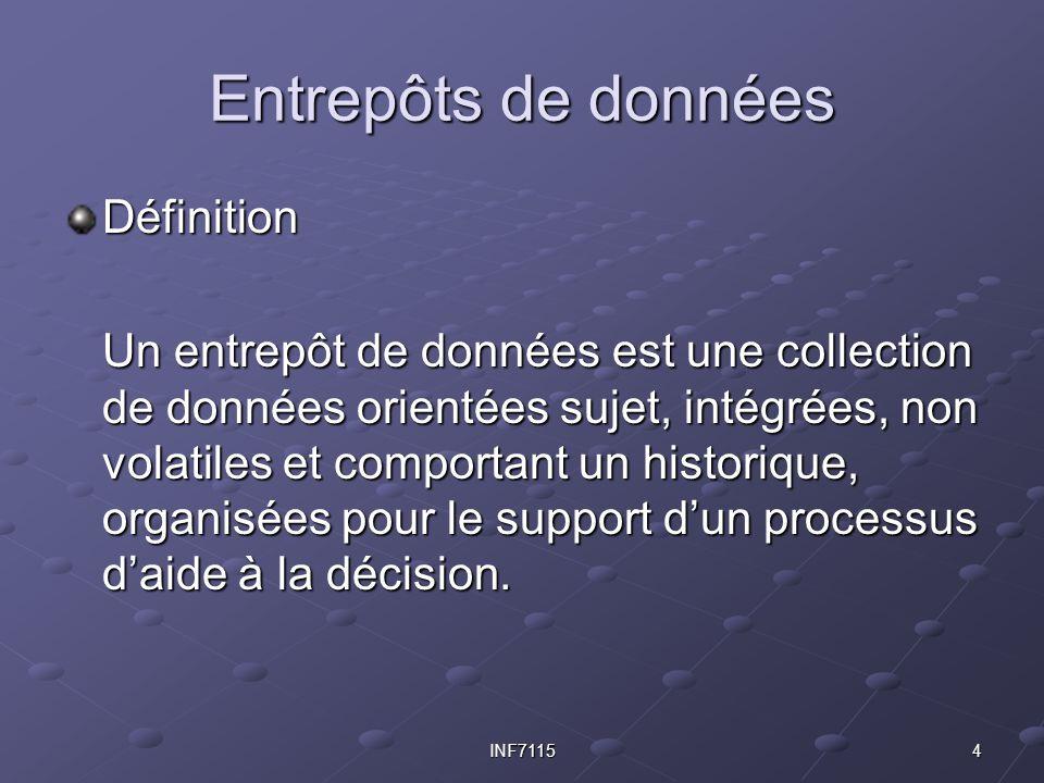 4INF7115 Entrepôts de données Définition Un entrepôt de données est une collection de données orientées sujet, intégrées, non volatiles et comportant