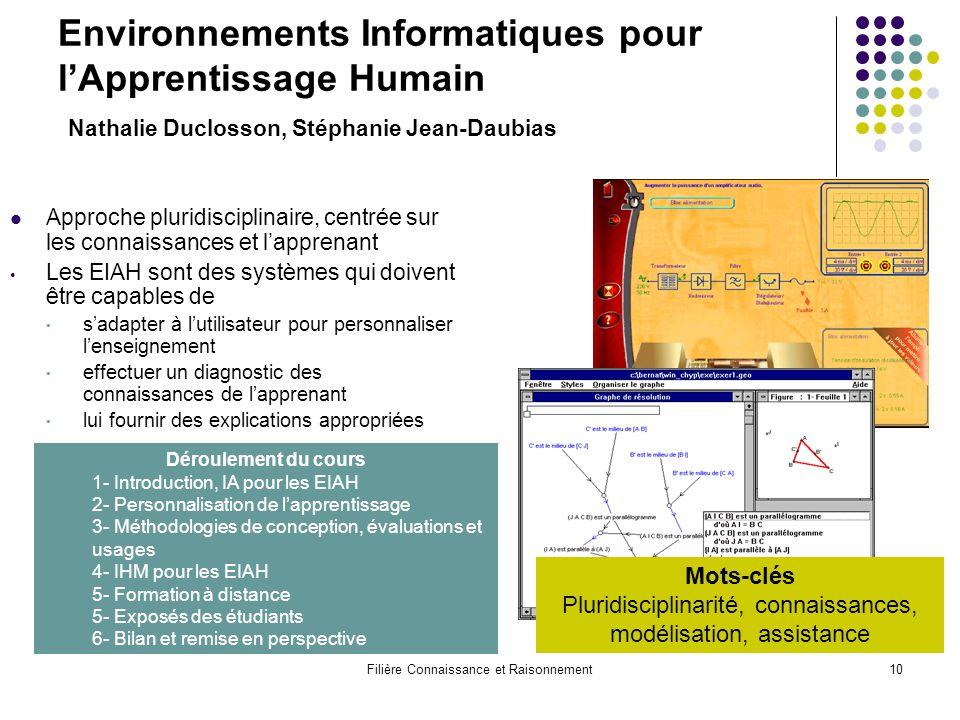 Filière Connaissance et Raisonnement10 Environnements Informatiques pour l'Apprentissage Humain Nathalie Duclosson, Stéphanie Jean-Daubias Approche pl