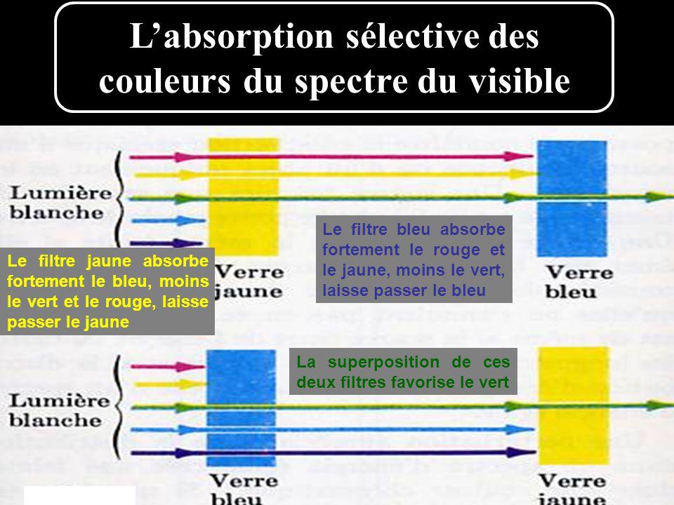 L'absorption sélective des couleurs du spectre du visible Le filtre jaune absorbe fortement le bleu, moins le vert et le rouge, laisse passer le jaune