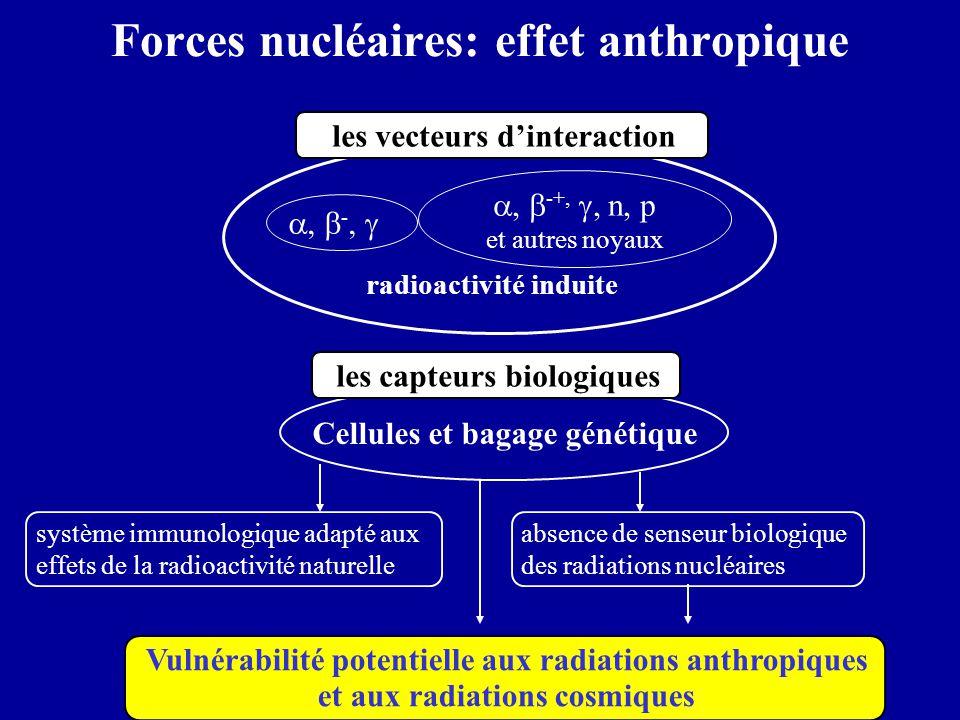 Cellules et bagage génétique Forces nucléaires: effet anthropique ,  -,  ,  -+, , n, p et autres noyaux radioactivité induite les vecteurs d'int
