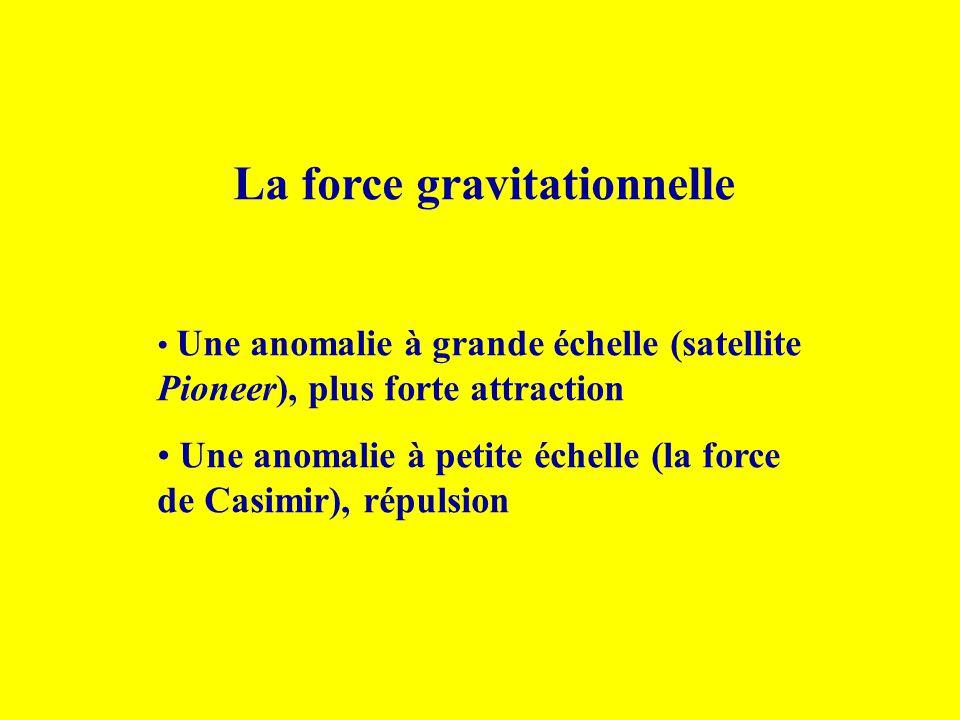 La force gravitationnelle Une anomalie à grande échelle (satellite Pioneer), plus forte attraction Une anomalie à petite échelle (la force de Casimir)