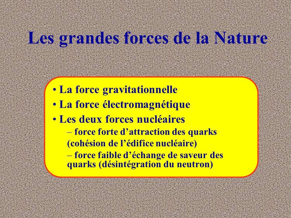 Forces nucléaires (1) Forces d'attraction entre les «particules élémentaires» du noyau agent de la force forte le gluon vecteur de la couleur des quarks agents de la force faible les bosons vecteurs de la saveur des quarks l'attraction entre les quarks, composants des nucléons, est à l'origine de la cohésion du noyau de l'atome et donc de la stabilité de la matière l'échange de bosons permet aux quarks de se transformer l'un en l'autre; ce processus est à l'origine de la désintégration naturelle du neutron : n  p+  - +  e cela change la nature du noyau, l'émission du  - est une forme de radioactivité naturelle Les bosons W +,- et Z 0 ont une masse.