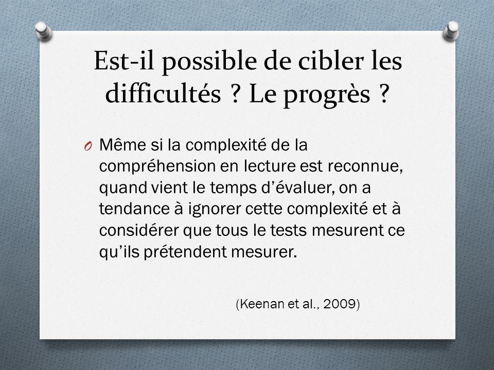 O Même si la complexité de la compréhension en lecture est reconnue, quand vient le temps d'évaluer, on a tendance à ignorer cette complexité et à con