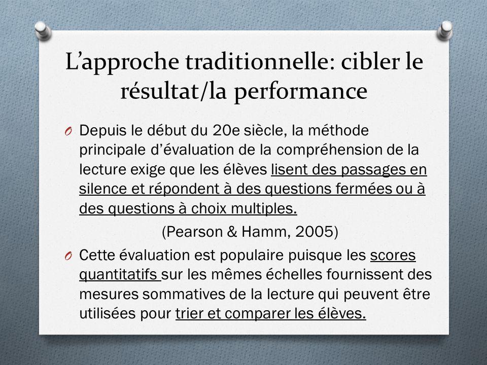L'approche traditionnelle: cibler le résultat/la performance O Depuis le début du 20e siècle, la méthode principale d'évaluation de la compréhension d