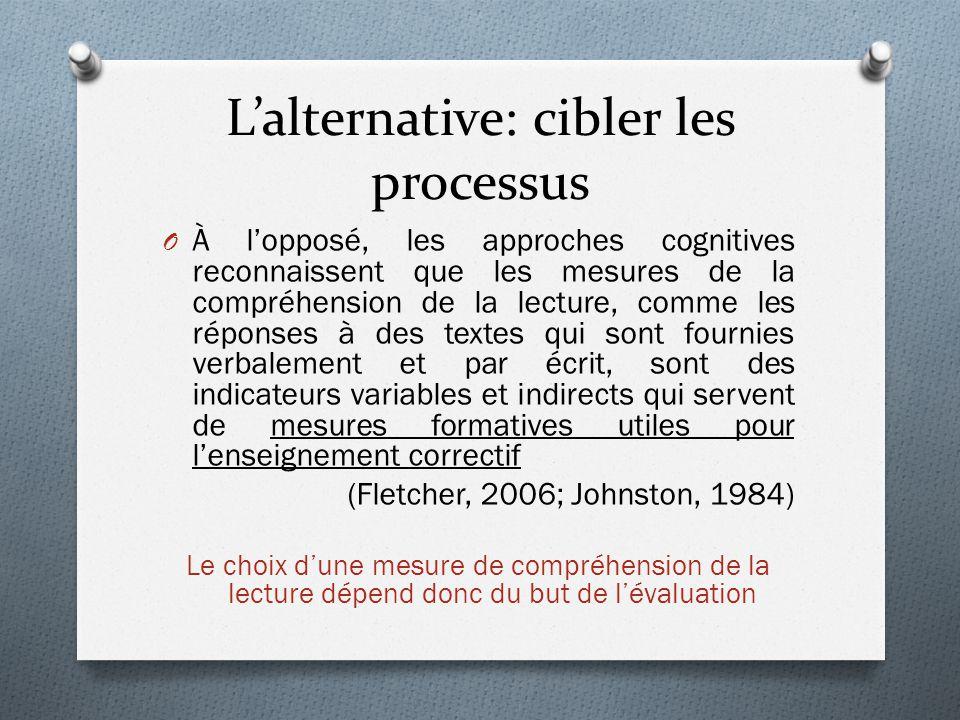 L'alternative: cibler les processus O À l'opposé, les approches cognitives reconnaissent que les mesures de la compréhension de la lecture, comme les