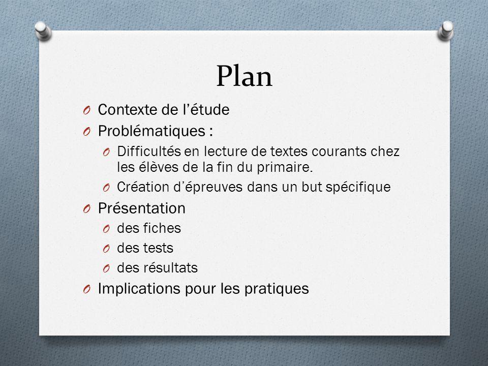 Plan O Contexte de l'étude O Problématiques : O Difficultés en lecture de textes courants chez les élèves de la fin du primaire. O Création d'épreuves