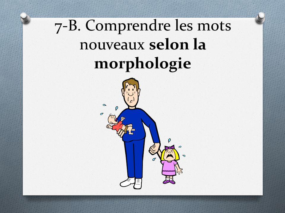 7-B. Comprendre les mots nouveaux selon la morphologie