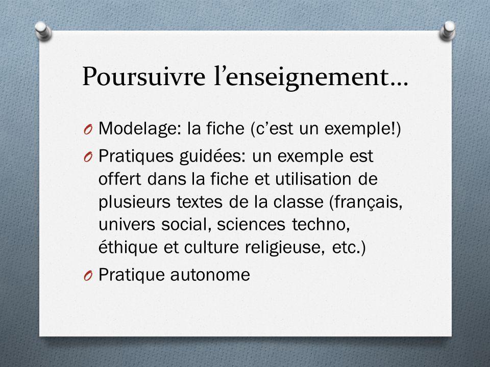 Poursuivre l'enseignement… O Modelage: la fiche (c'est un exemple!) O Pratiques guidées: un exemple est offert dans la fiche et utilisation de plusieu