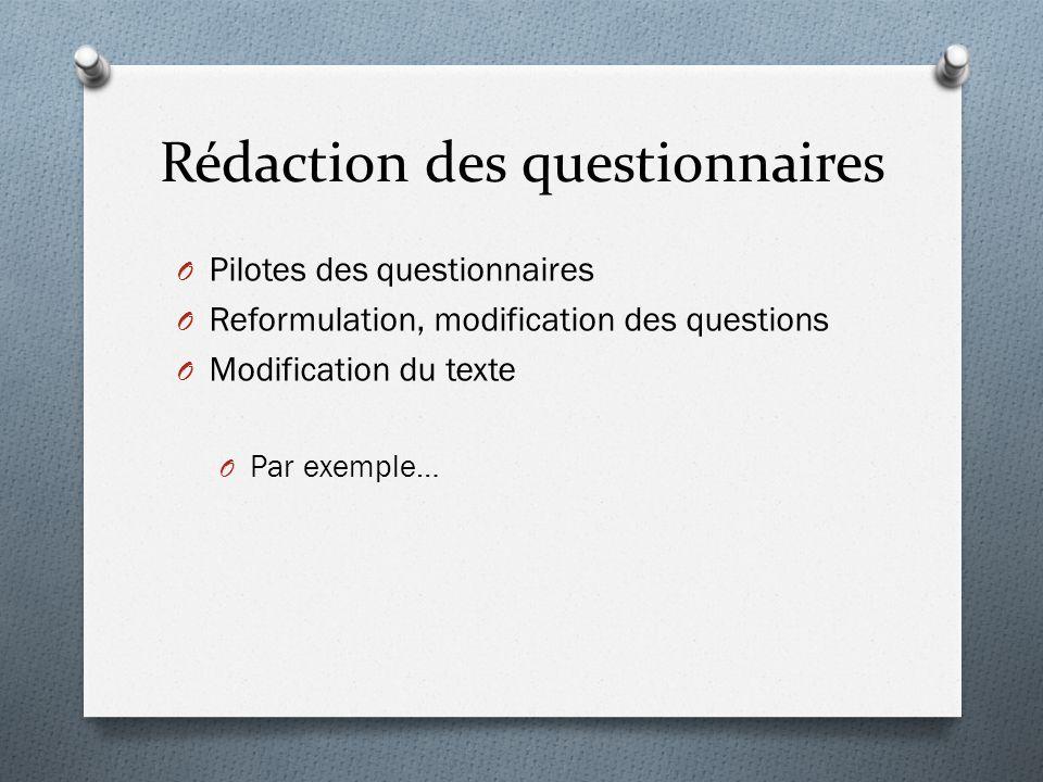 Rédaction des questionnaires O Pilotes des questionnaires O Reformulation, modification des questions O Modification du texte O Par exemple…