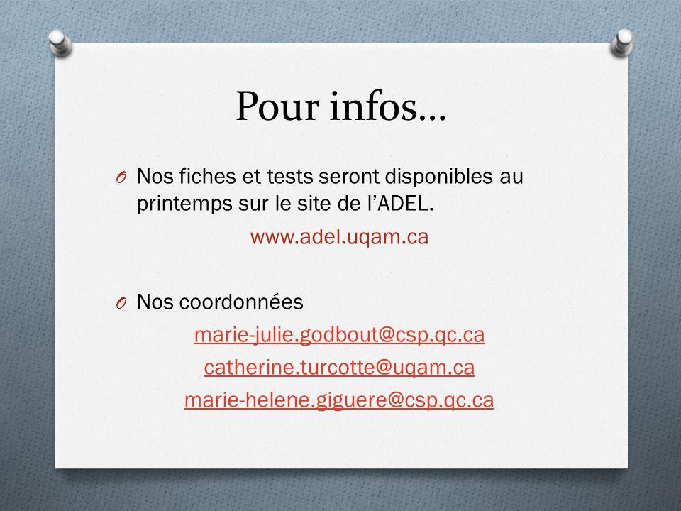 Pour infos… O Nos fiches et tests seront disponibles au printemps sur le site de l'ADEL. www.adel.uqam.ca O Nos coordonnées marie-julie.godbout@csp.qc