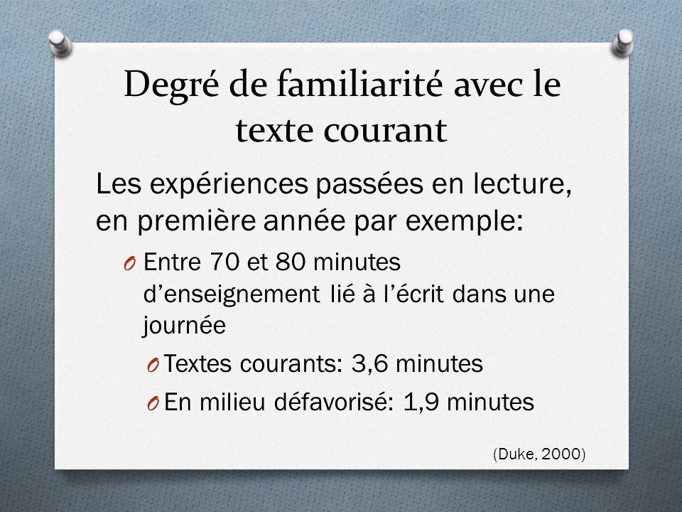 Degré de familiarité avec le texte courant Les expériences passées en lecture, en première année par exemple: O Entre 70 et 80 minutes d'enseignement