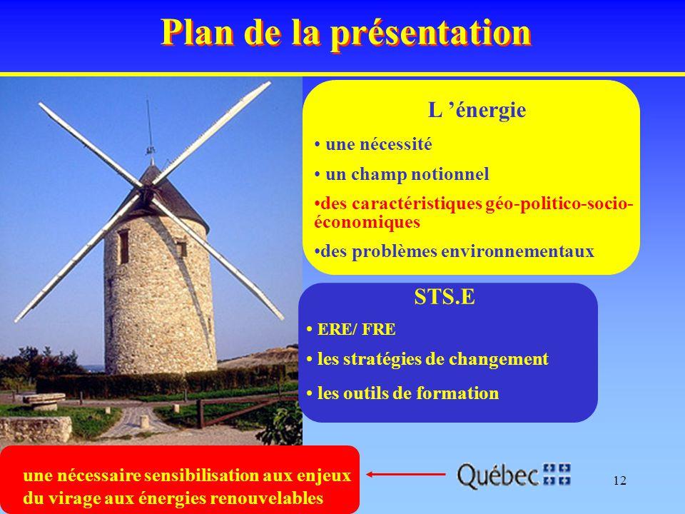 12 Plan de la présentation L 'énergie une nécessité un champ notionnel des caractéristiques géo-politico-socio- économiques des problèmes environnemen