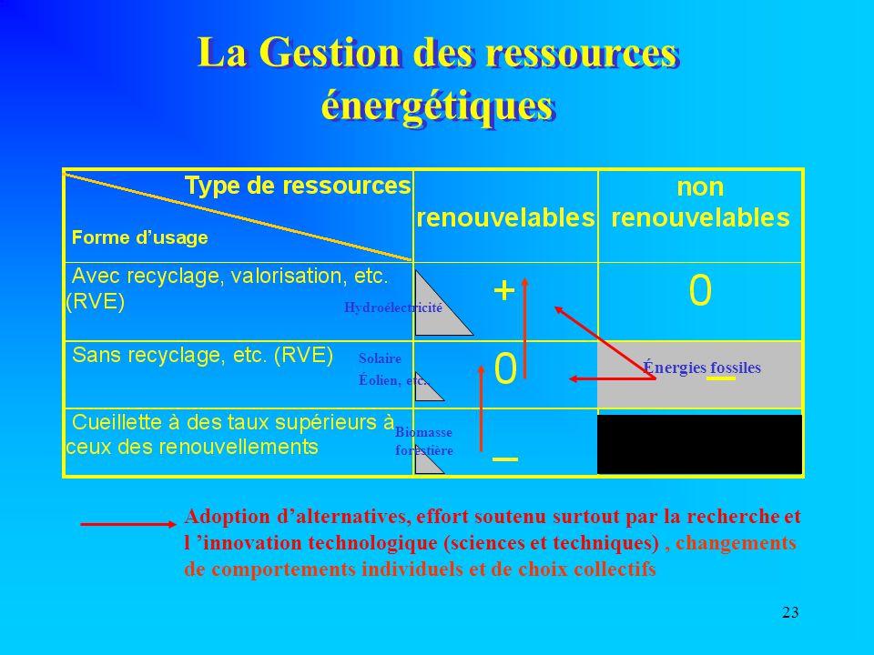 23 La Gestion des ressources énergétiques Énergies fossiles Hydroélectricité Solaire Éolien, etc.. Biomasse forestière Adoption d'alternatives, effort