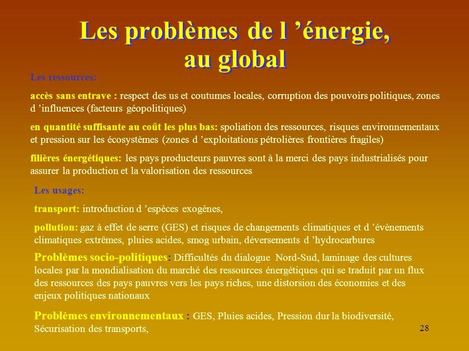 28 Les problèmes de l 'énergie, au global Les ressources: accès sans entrave : respect des us et coutumes locales, corruption des pouvoirs politiques,