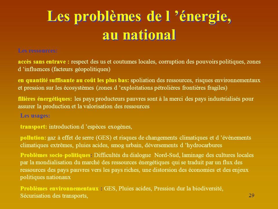 29 Les problèmes de l 'énergie, au national Les ressources: accès sans entrave : respect des us et coutumes locales, corruption des pouvoirs politique