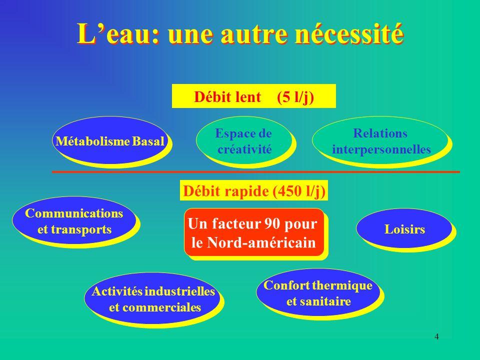 4 L'eau: une autre nécessité Débit lent (5 l/j) Métabolisme Basal Relations interpersonnelles Relations interpersonnelles Espace de créativité Espace