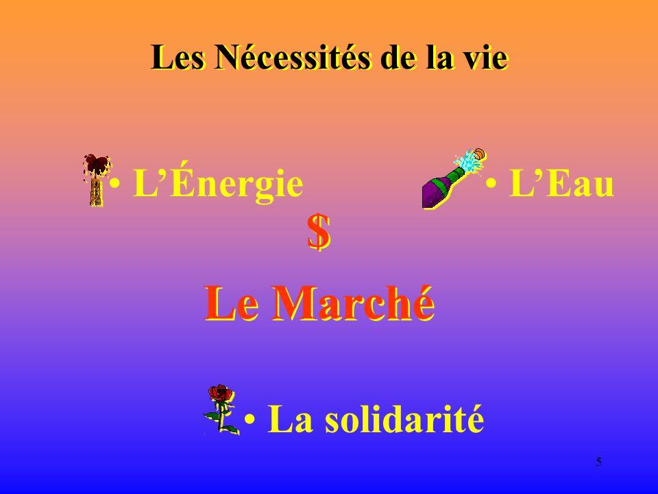 5 Les Nécessités de la vie L'Énergie L'Eau $ Le Marché $ Le Marché La solidarité