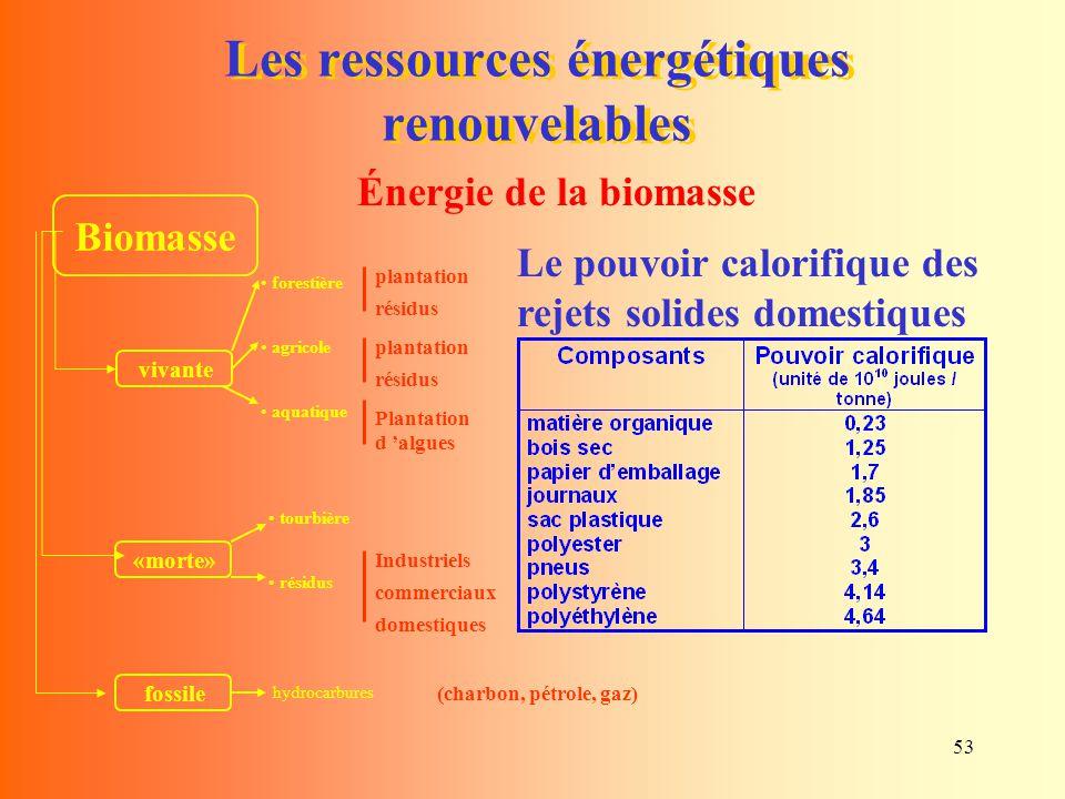53 Les ressources énergétiques renouvelables Le pouvoir calorifique des rejets solides domestiques Biomasse vivante forestière agricole aquatique «mor