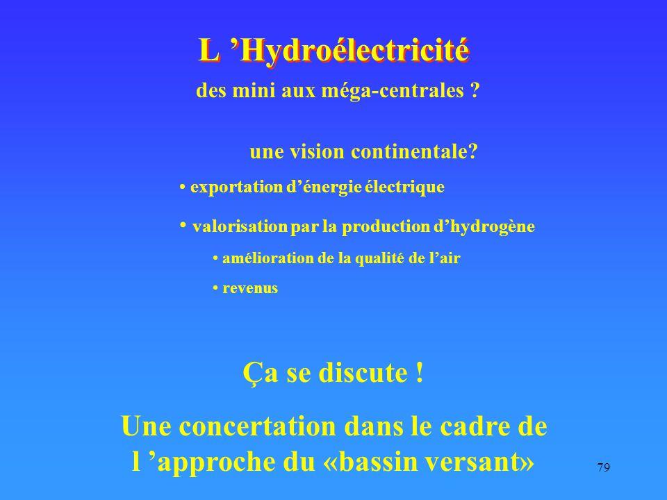 79 L 'Hydroélectricité Ça se discute ! Une concertation dans le cadre de l 'approche du «bassin versant» une vision continentale? exportation d'énergi
