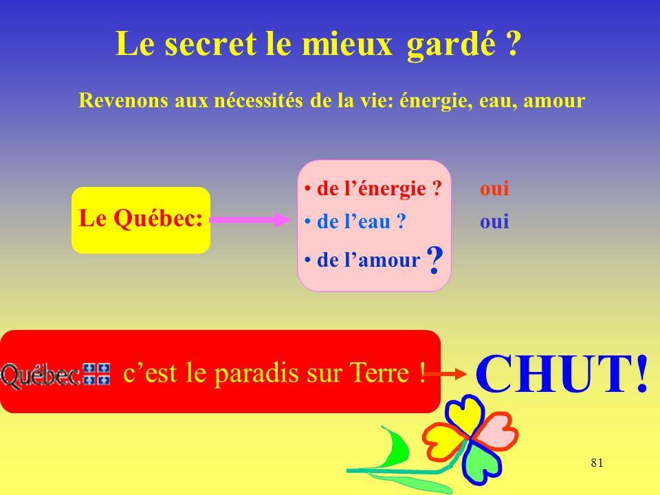 81 Le Québec: Le secret le mieux gardé ? c'est le paradis sur Terre ! Revenons aux nécessités de la vie: énergie, eau, amour de l'énergie ? de l'eau ?