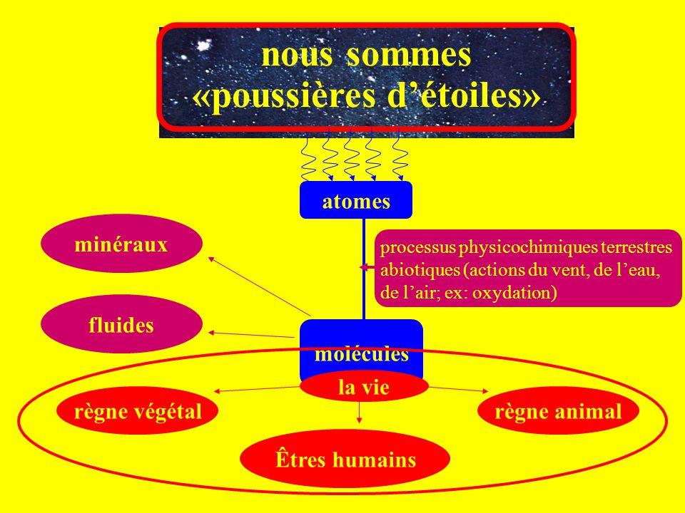 nous sommes «poussières d'étoiles» atomes molécules processus physicochimiques terrestres abiotiques (actions du vent, de l'eau, de l'air; ex: oxydati