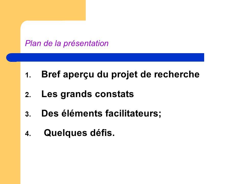 Plan de la présentation 1. Bref aperçu du projet de recherche 2.