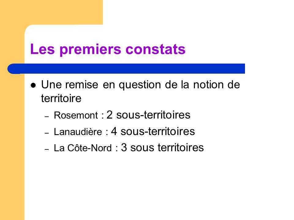 Les premiers constats Une remise en question de la notion de territoire – Rosemont : 2 sous-territoires – Lanaudière : 4 sous-territoires – La Côte-Nord : 3 sous territoires