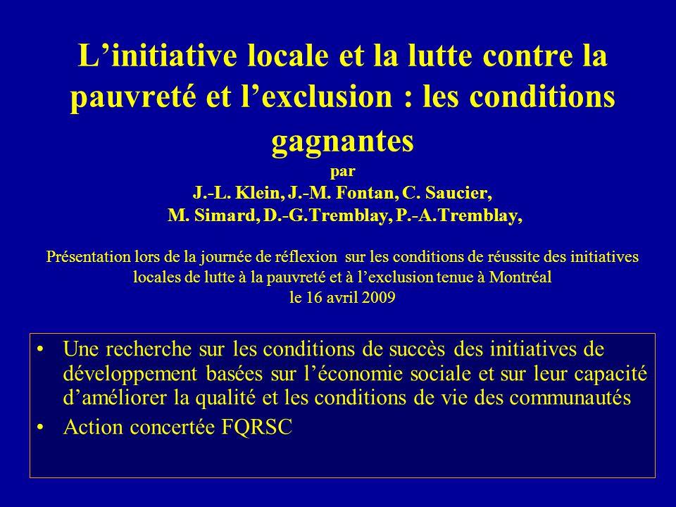 L'initiative locale et la lutte contre la pauvreté et l'exclusion : les conditions gagnantes par J.-L.