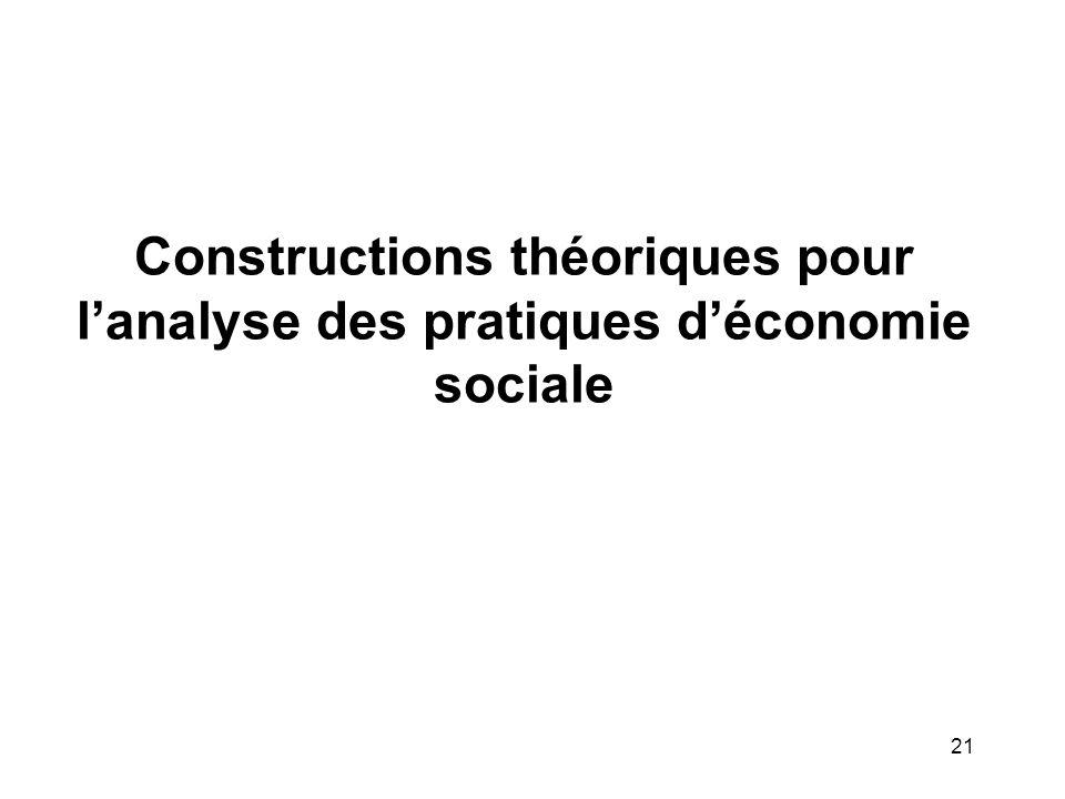 21 Constructions théoriques pour l'analyse des pratiques d'économie sociale