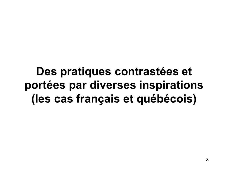 8 Des pratiques contrastées et portées par diverses inspirations (les cas français et québécois)