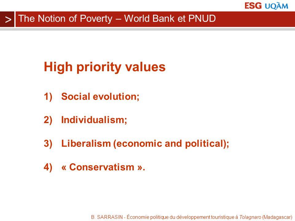 B. SARRASIN - Économie politique du développement touristique à Tolagnaro (Madagascar) High priority values 1) Social evolution; 2) Individualism; 3)