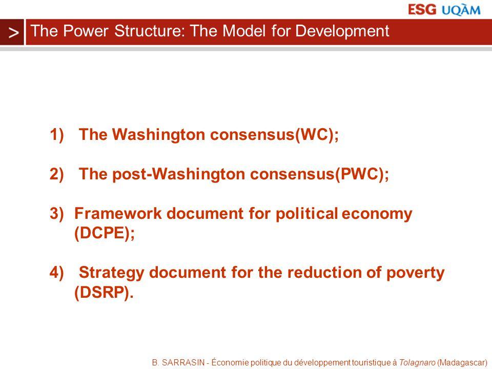 B. SARRASIN - Économie politique du développement touristique à Tolagnaro (Madagascar) 1) The Washington consensus(WC); 2) The post-Washington consens