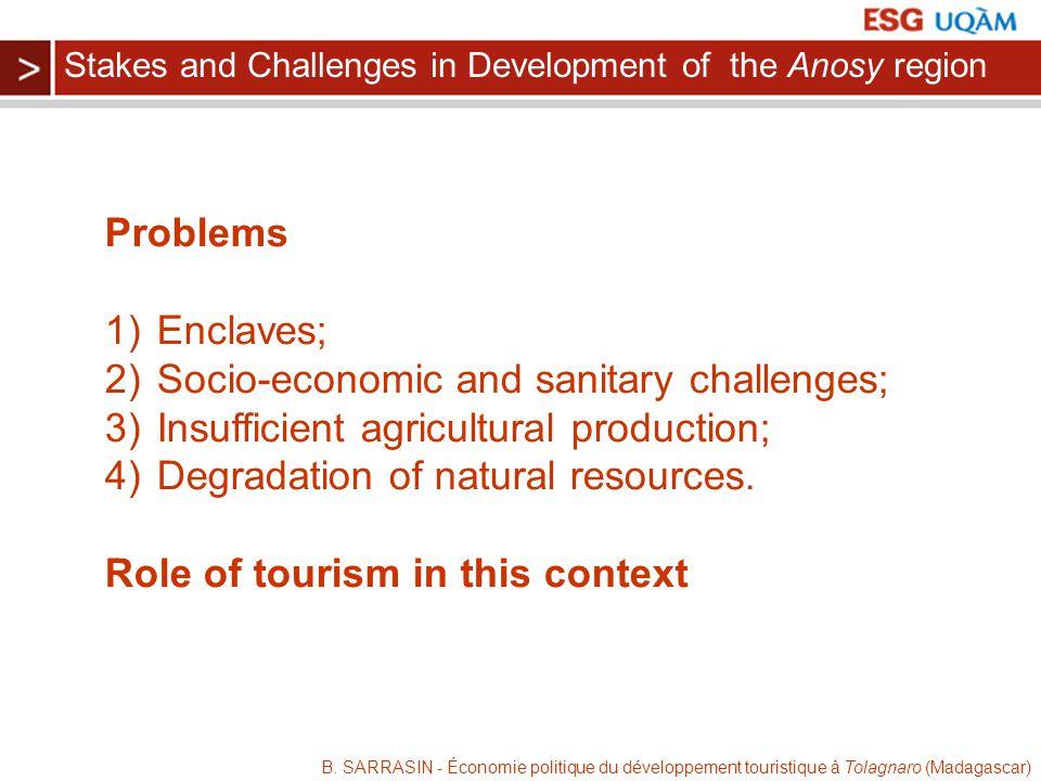 B. SARRASIN - Économie politique du développement touristique à Tolagnaro (Madagascar) Problems 1)Enclaves; 2)Socio-economic and sanitary challenges;