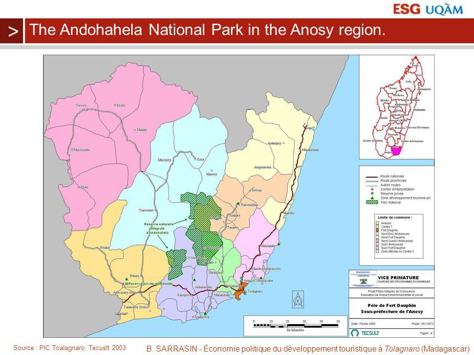 B. SARRASIN - Économie politique du développement touristique à Tolagnaro (Madagascar) Source : PIC Toalagnaro, Tecuslt 2003 The Andohahela National P