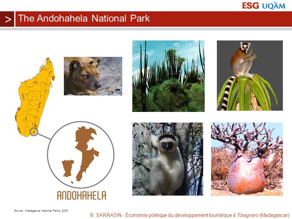 B. SARRASIN - Économie politique du développement touristique à Tolagnaro (Madagascar) Source : Madagascar National Parks, 2009 The Andohahela Nationa