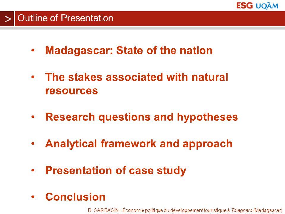 B. SARRASIN - Économie politique du développement touristique à Tolagnaro (Madagascar) Madagascar: State of the nation The stakes associated with natu