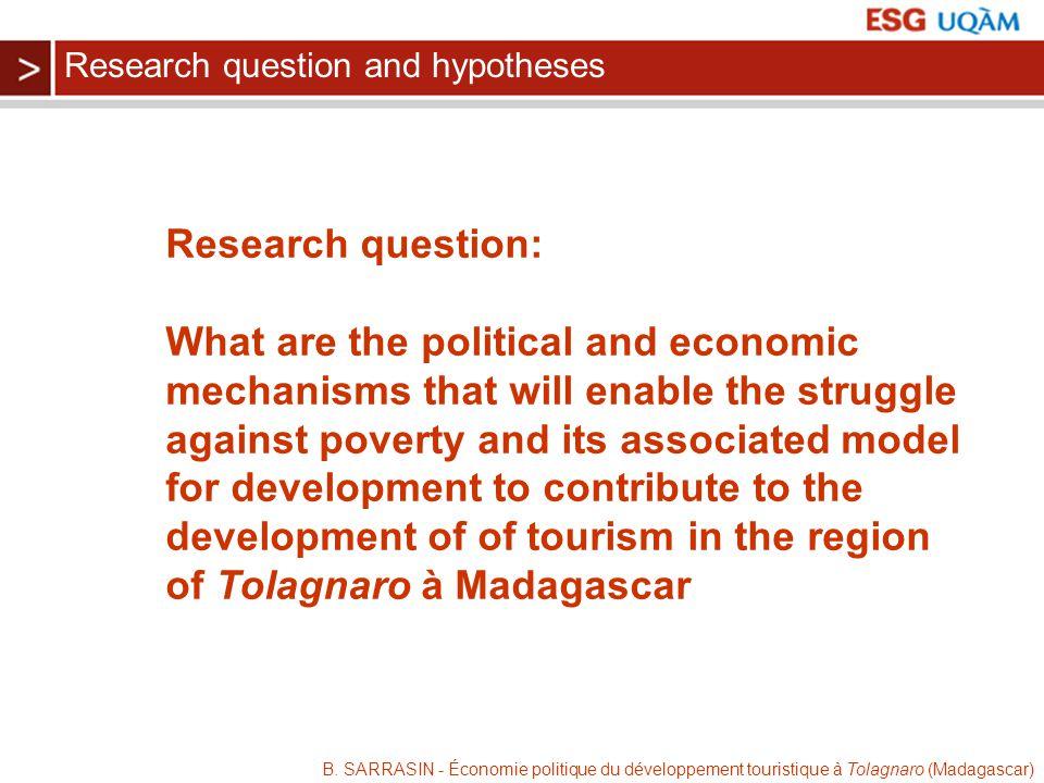 B. SARRASIN - Économie politique du développement touristique à Tolagnaro (Madagascar) Research question: What are the political and economic mechanis