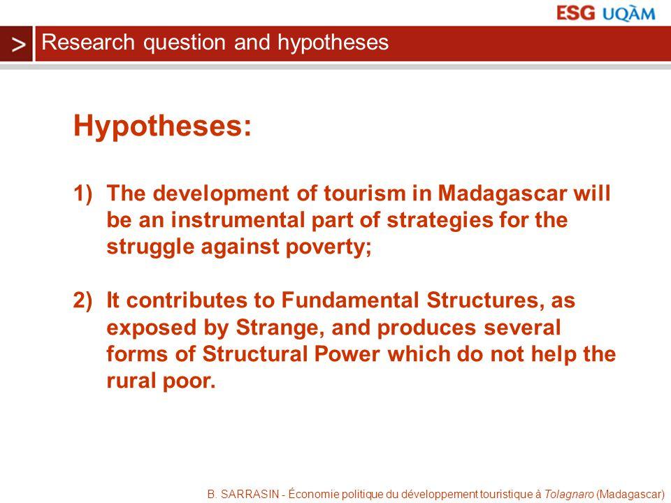 B. SARRASIN - Économie politique du développement touristique à Tolagnaro (Madagascar) Hypotheses: 1)The development of tourism in Madagascar will be