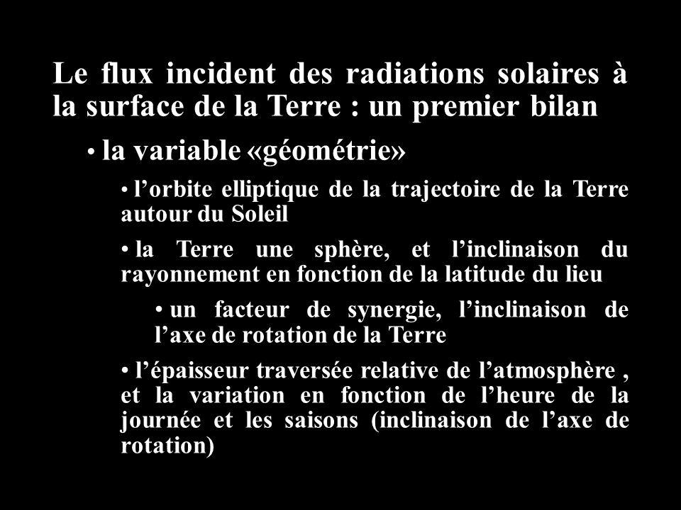 Le flux incident des radiations solaires à la surface de la Terre : un premier bilan la variable «géométrie» l'orbite elliptique de la trajectoire de