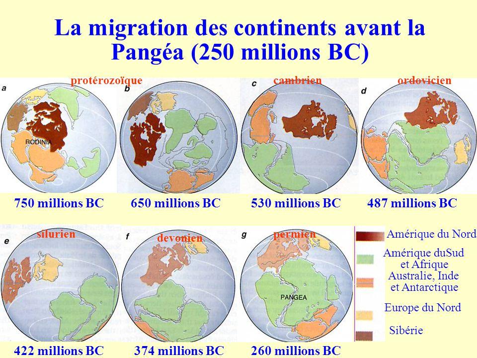La migration des continents avant la Pangéa (250 millions BC) 750 millions BC650 millions BC530 millions BC487 millions BC 422 millions BC374 millions
