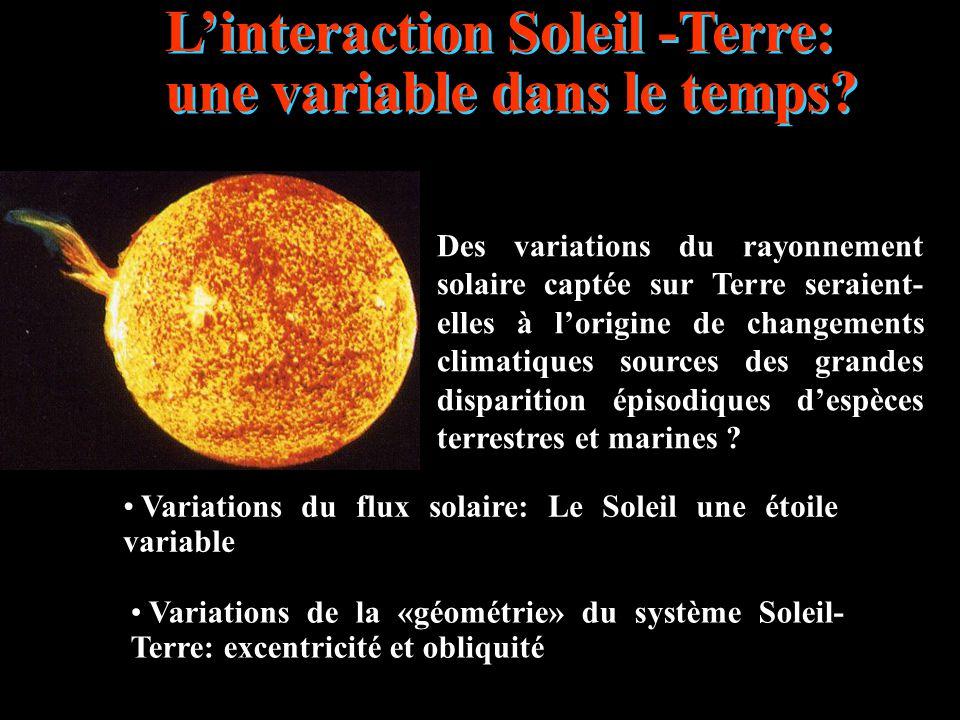 L'interaction Soleil -Terre: une variable dans le temps? Des variations du rayonnement solaire captée sur Terre seraient- elles à l'origine de changem