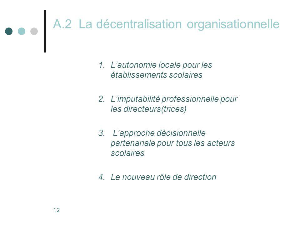 12 A.2 La décentralisation organisationnelle 1.L'autonomie locale pour les établissements scolaires 2.L'imputabilité professionnelle pour les directeurs(trices) 3.