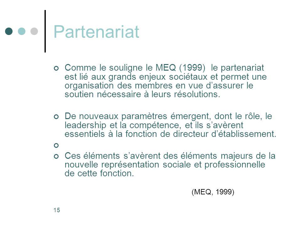15 Partenariat Comme le souligne le MEQ (1999) le partenariat est lié aux grands enjeux sociétaux et permet une organisation des membres en vue d'assurer le soutien nécessaire à leurs résolutions.