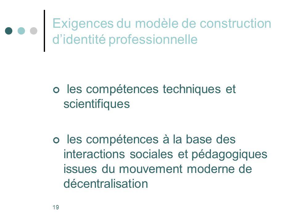 19 Exigences du modèle de construction d'identité professionnelle les compétences techniques et scientifiques les compétences à la base des interactions sociales et pédagogiques issues du mouvement moderne de décentralisation