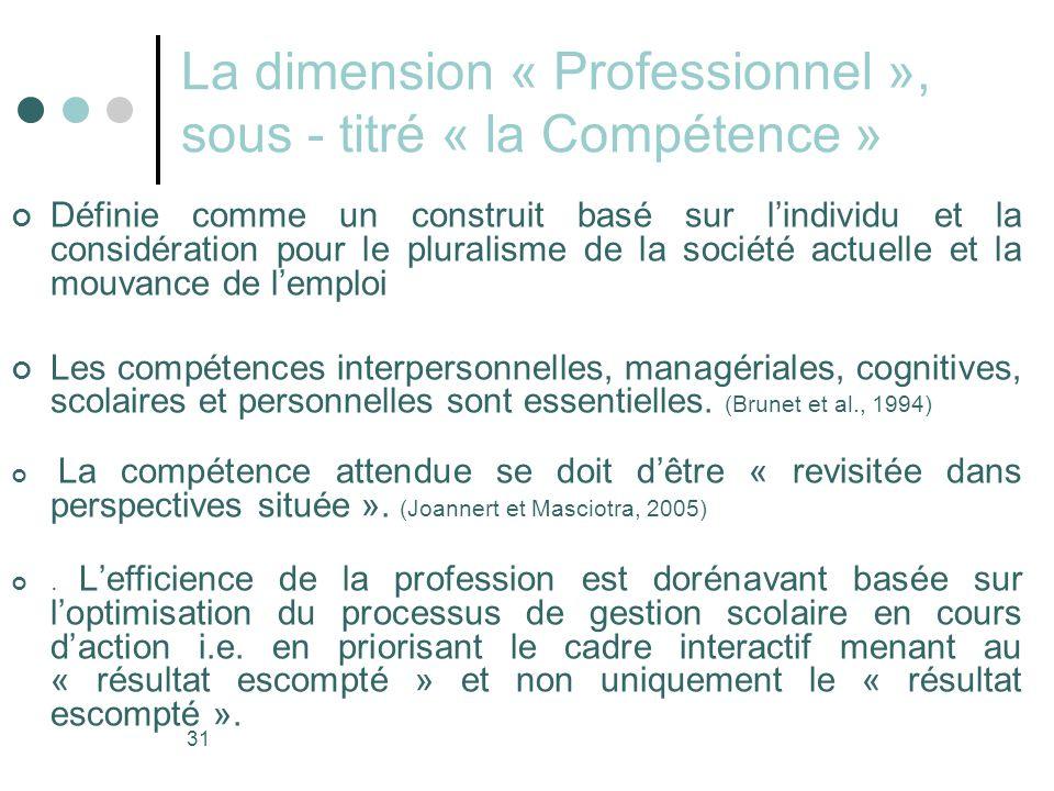 31 La dimension « Professionnel », sous - titré « la Compétence » Définie comme un construit basé sur l'individu et la considération pour le pluralisme de la société actuelle et la mouvance de l'emploi Les compétences interpersonnelles, managériales, cognitives, scolaires et personnelles sont essentielles.